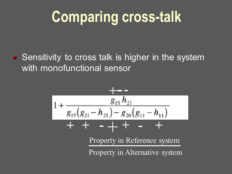 Comparing cross-talk Sensitivity to cross talk is higher in the system with monofunctional sensor + + + - - + +- - + Property in Reference system Prop