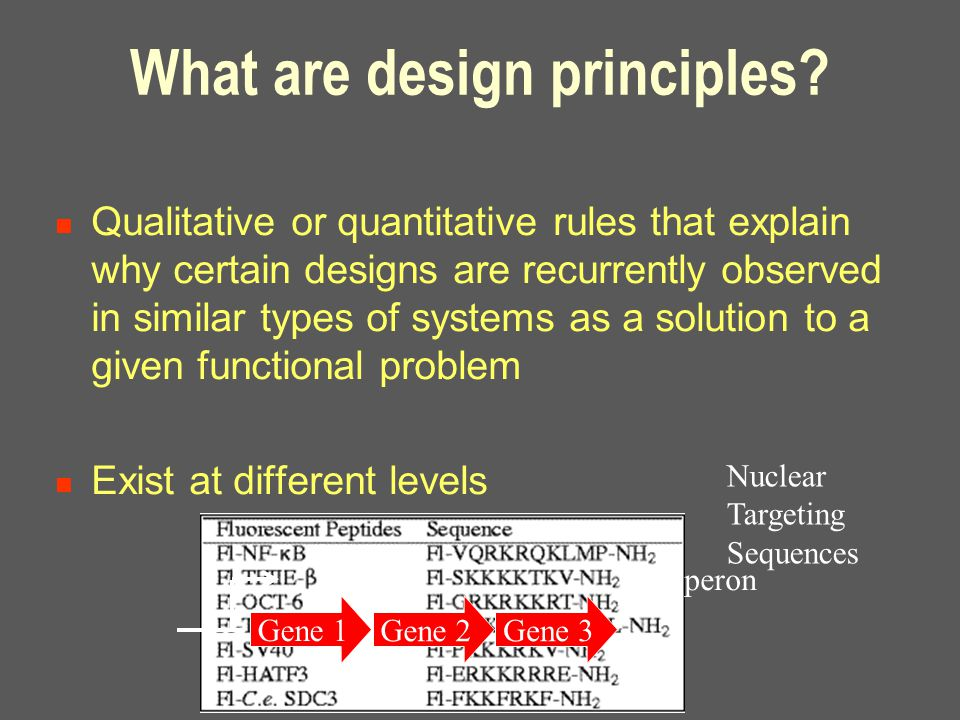 What are design principles? Qualitative or quantitative rules that explain why certain designs are recurrently observed in similar types of systems as
