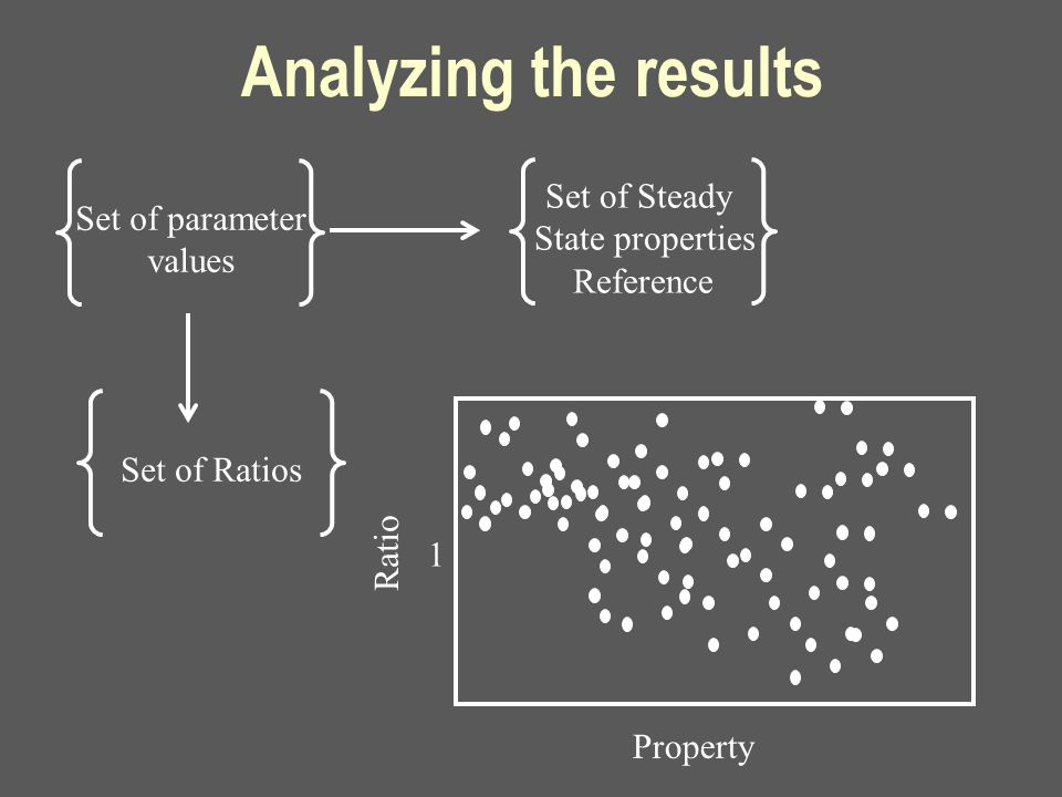 Analyzing the results Set of parameter values Set of Steady State properties Reference Set of Ratios Property Ratio 1