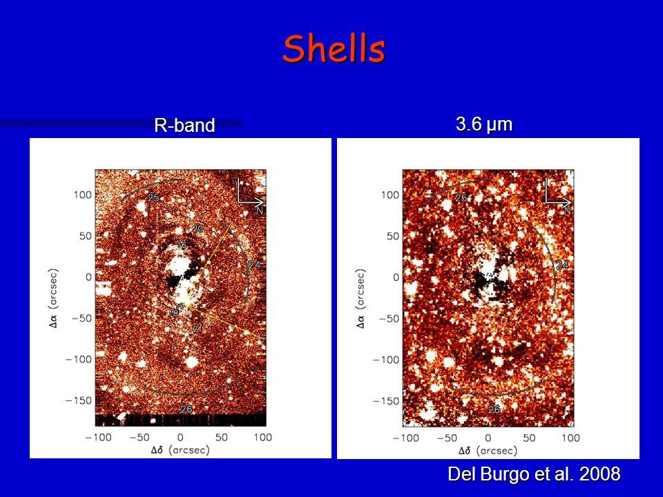 Shells R-band 3.6 µm Del Burgo et al. 2008