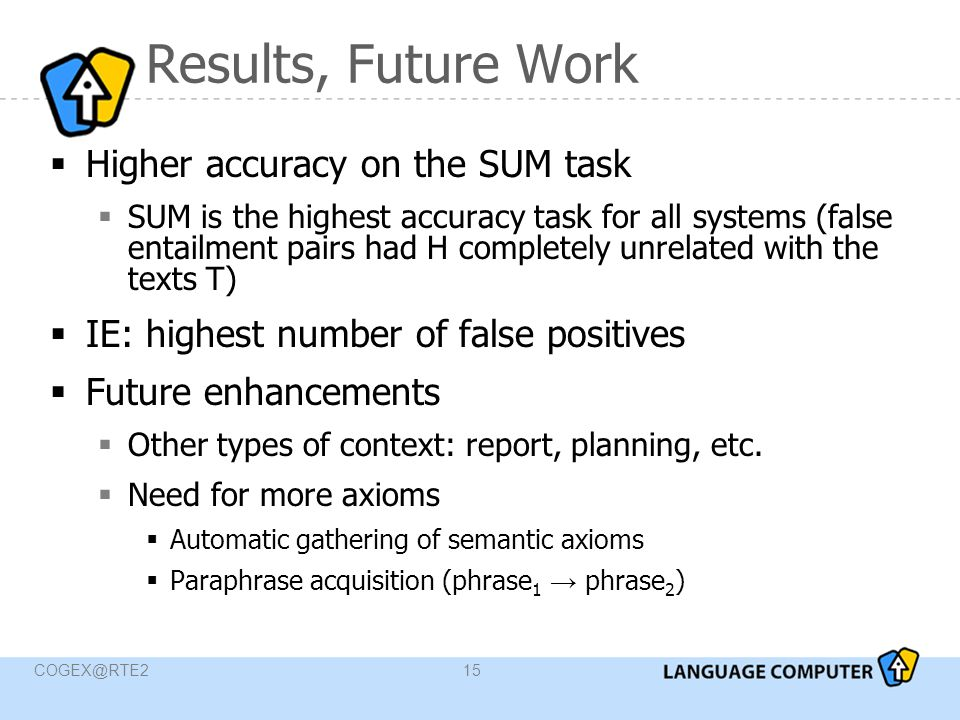 COGEX@RTE215 Results, Future Work  Higher accuracy on the SUM task  SUM is the highest accuracy task for all systems (false entailment pairs had H completely unrelated with the texts T)  IE: highest number of false positives  Future enhancements  Other types of context: report, planning, etc.