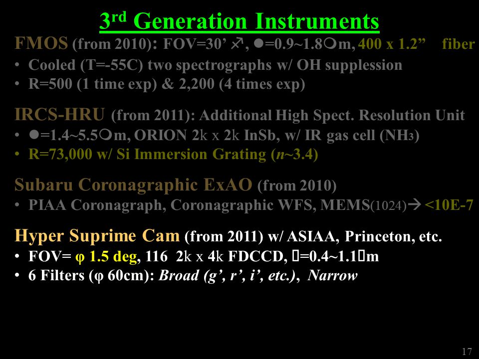 17 3 rd Generation Instruments FMOS (from 2010) : FOV=30' f, l =0.9~1.8 m m, 400 x 1.2 fiber Cooled (T=-55C) two spectrographs w/ OH supplession R=500 (1 time exp) & 2,200 (4 times exp) IRCS-HRU (from 2011): Additional High Spect.