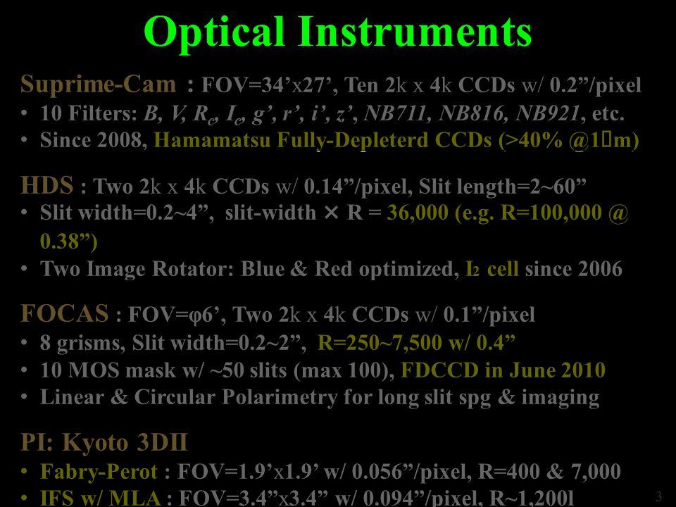 3 Optical Instruments Suprime-Cam : FOV=34'x27', Ten 2k x 4k CCDs w/ 0.2 /pixel 10 Filters: B, V, R c, I c, g', r', i', z', NB711, NB816, NB921, etc.