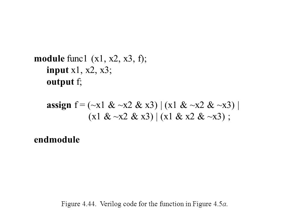 Figure 4.44.Verilog code for the function in Figure 4.5a.