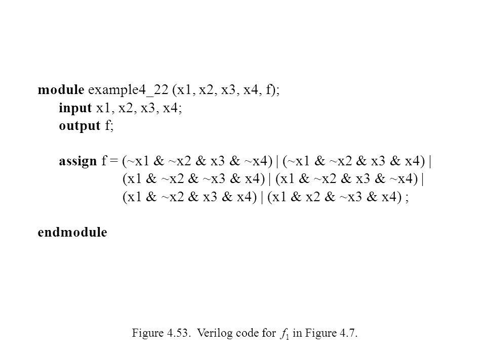 module example4_22 (x1, x2, x3, x4, f); input x1, x2, x3, x4; output f; assign f = (~x1 & ~x2 & x3 & ~x4) | (~x1 & ~x2 & x3 & x4) | (x1 & ~x2 & ~x3 &