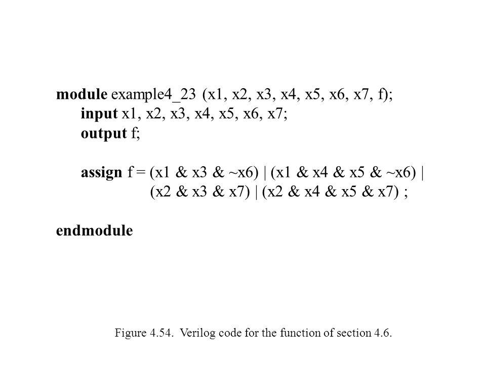 module example4_23 (x1, x2, x3, x4, x5, x6, x7, f); input x1, x2, x3, x4, x5, x6, x7; output f; assign f = (x1 & x3 & ~x6) | (x1 & x4 & x5 & ~x6) | (x