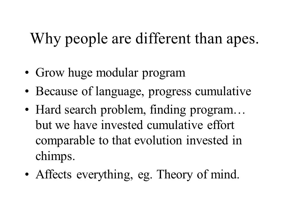Why people are different than apes.