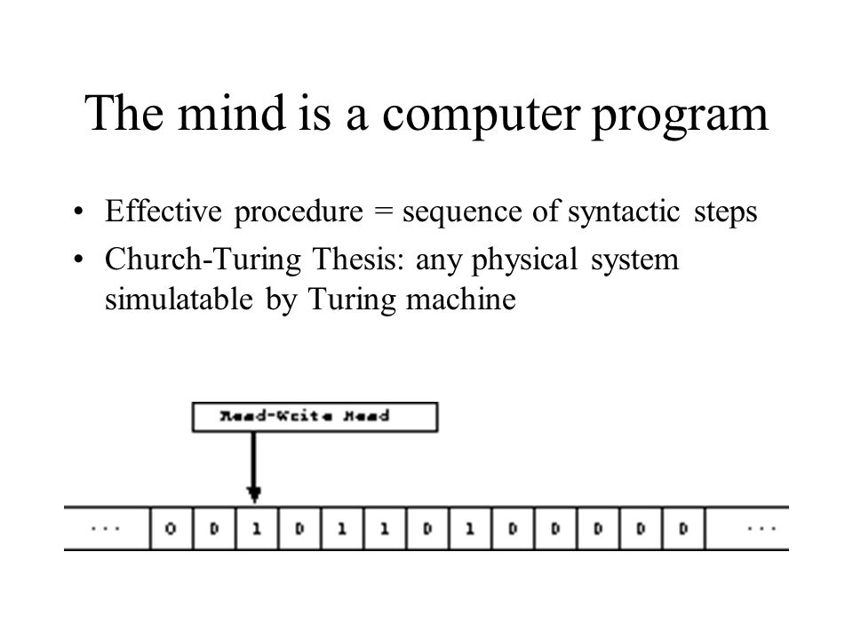 The mind is a computer program Effective procedure = sequence of syntactic steps Church-Turing Thesis: any physical system simulatable by Turing machine