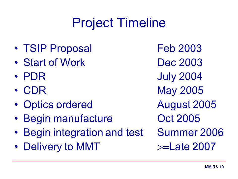 MMIRS 10 Project Timeline TSIP Proposal Feb 2003 Start of Work Dec 2003 PDR July 2004 CDR May 2005 Optics orderedAugust 2005 Begin manufacture Oct 200