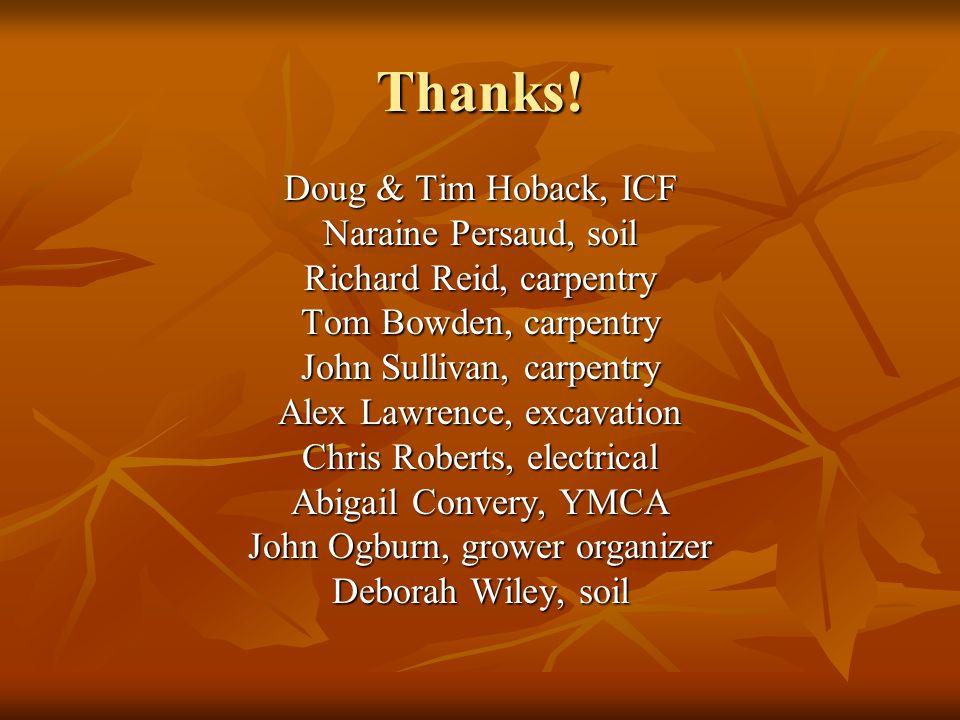 Thanks! Doug & Tim Hoback, ICF Naraine Persaud, soil Richard Reid, carpentry Tom Bowden, carpentry John Sullivan, carpentry Alex Lawrence, excavation