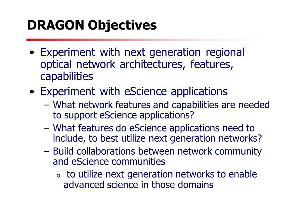 DRAGON Activities Instantiation of an Experimental Regional Optical Network in Washington D.C.