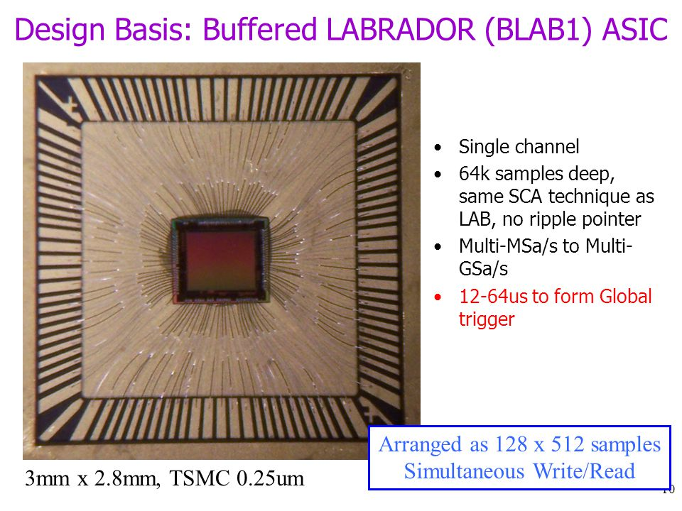10 Design Basis: Buffered LABRADOR (BLAB1) ASIC Single channel 64k samples deep, same SCA technique as LAB, no ripple pointer Multi-MSa/s to Multi- GSa/s 12-64us to form Global trigger 3mm x 2.8mm, TSMC 0.25um Arranged as 128 x 512 samples Simultaneous Write/Read