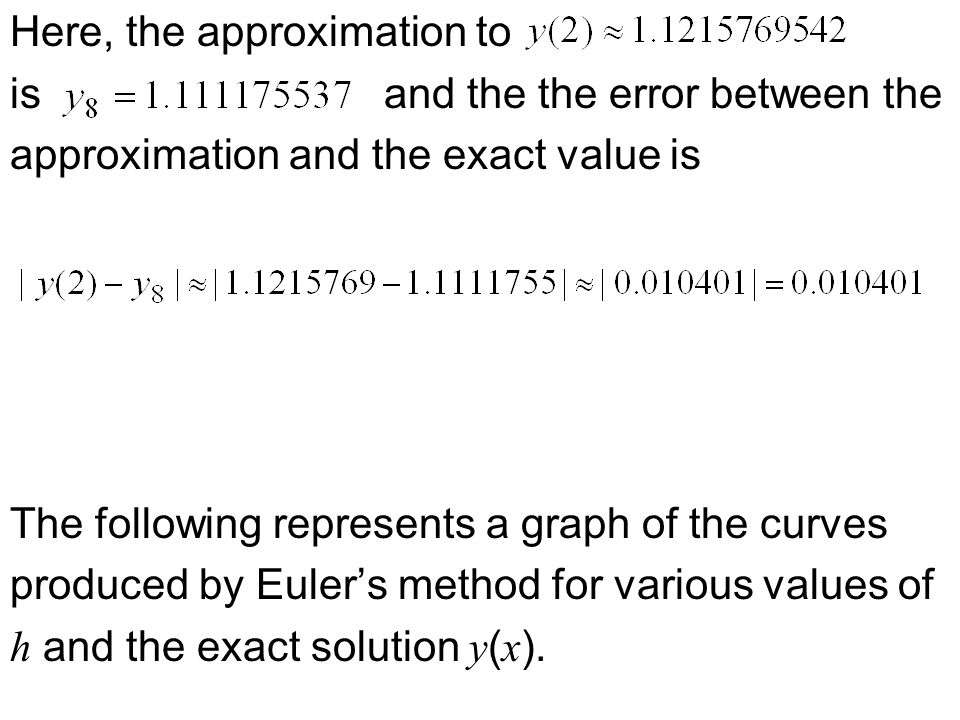 Here, the approximation to is and the the error between the approximation and the exact value is The following represents a graph of the curves produced by Euler's method for various values of h and the exact solution y ( x ).