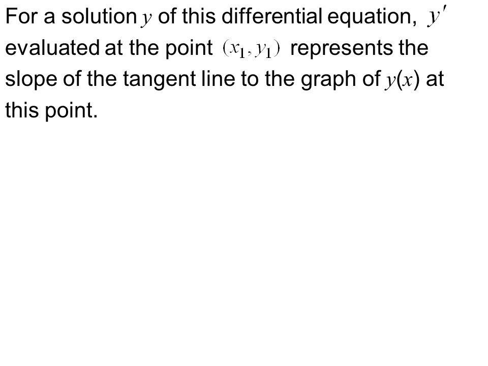 For a solution y of this differential equation, evaluated at the point represents the slope of the tangent line to the graph of y ( x ) at this point.