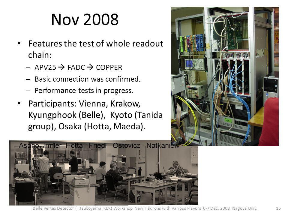 Nov 2008 Features the test of whole readout chain: – APV25  FADC  COPPER – Basic connection was confirmed.