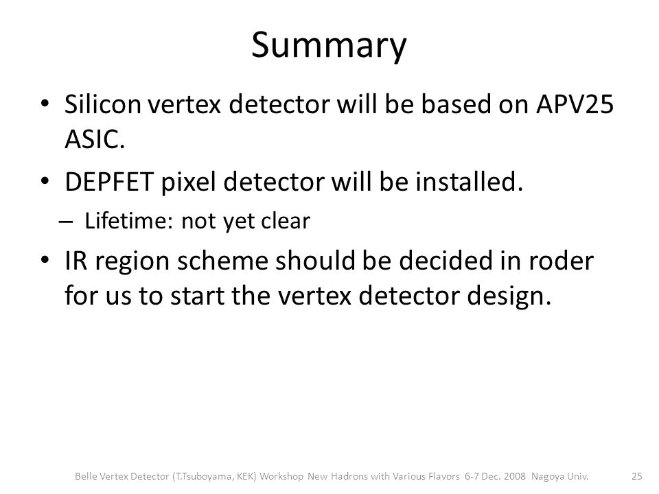 Summary Silicon vertex detector will be based on APV25 ASIC.