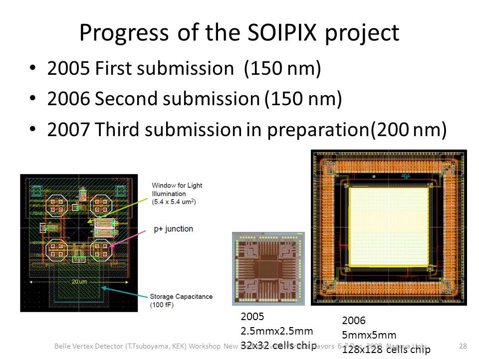 Progress of the SOIPIX project 2005 First submission (150 nm) 2006 Second submission (150 nm) 2007 Third submission in preparation(200 nm) 2005 2.5mmx2.5mm 32x32 cells chip 2006 5mmx5mm 128x128 cells chip 28 Belle Vertex Detector (T.Tsuboyama, KEK) Workshop New Hadrons with Various Flavors 6-7 Dec.