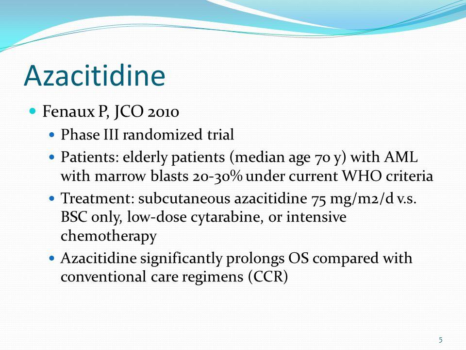 5 Azacitidine Fenaux P, JCO 2010 Phase III randomized trial Patients: elderly patients (median age 70 y) with AML with marrow blasts 20-30% under curr