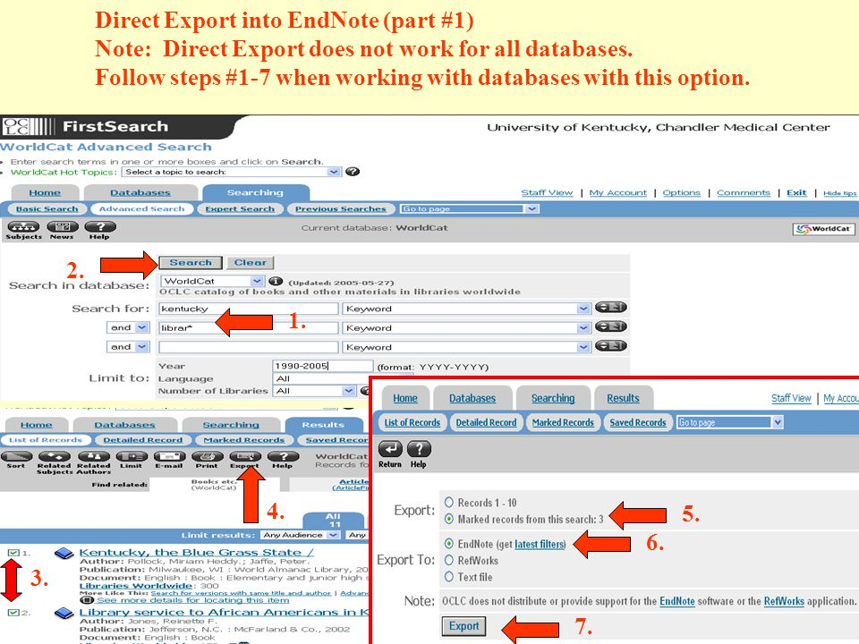 Direct Export into EndNote (part #1) Note: Direct Export does not work for all databases.