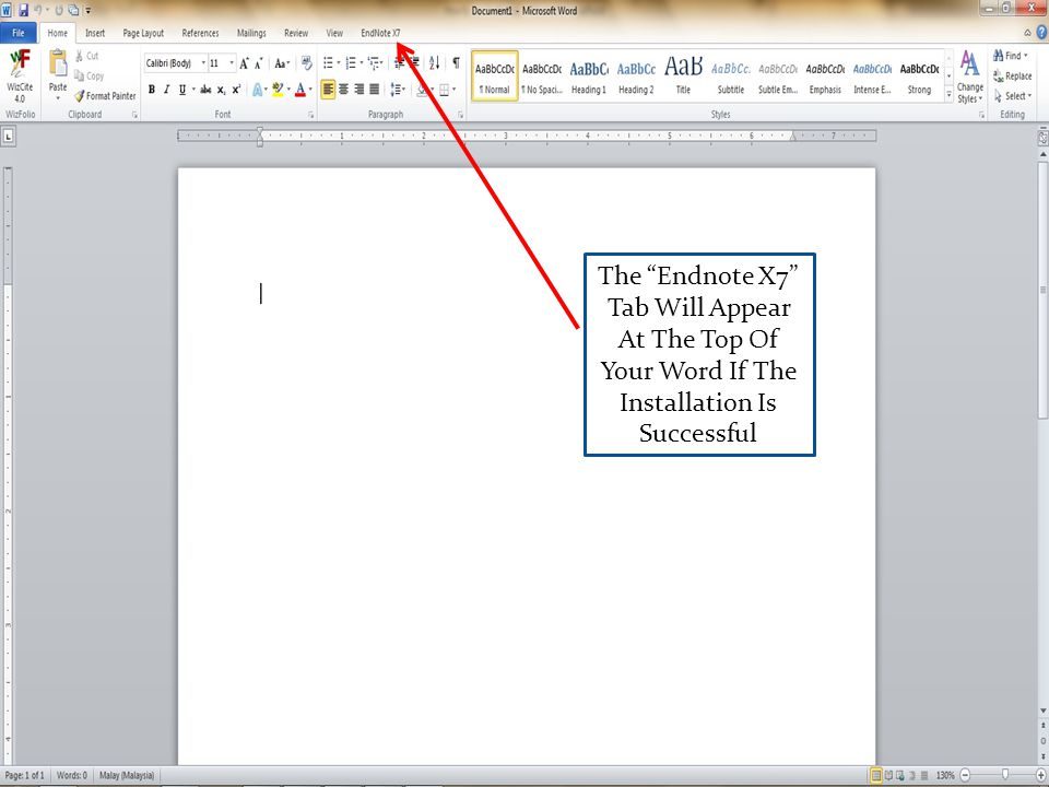 The Endnote X7 Tab Will Appear At The Top Of Your Word If The Installation Is Successful