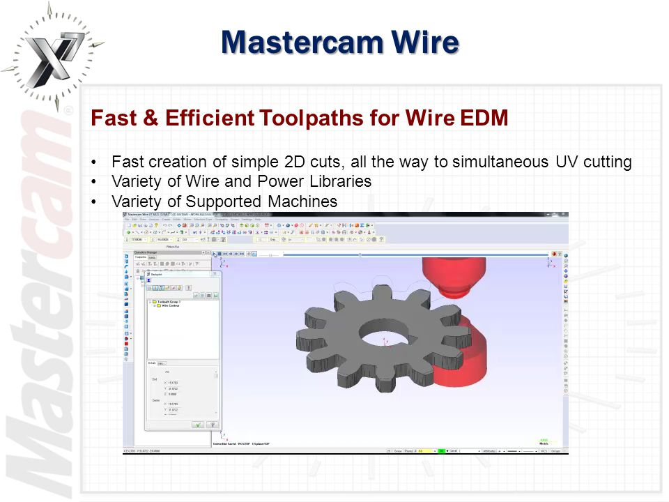 Mastercam Wire Fast & Efficient Toolpaths for Wire EDM Fast creation of simple 2D cuts, all the way to simultaneous UV cutting Variety of Wire and Pow