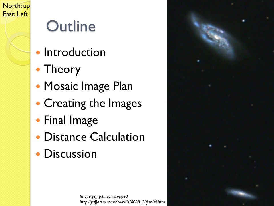 Outline Introduction Theory Mosaic Image Plan Creating the Images Final Image Distance Calculation Discussion Image: Jeff Johnson, cropped http://jeffjastro.com/dso/NGC4088_30Jan09.htm North: up East: Left