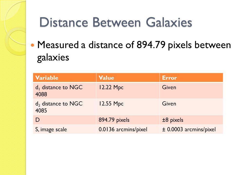 Distance Between Galaxies Measured a distance of 894.79 pixels between galaxies VariableValueError d 1 distance to NGC 4088 12.22 MpcGiven d 2 distance to NGC 4085 12.55 MpcGiven D894.79 pixels±8 pixels S, image scale0.0136 arcmins/pixel± 0.0003 arcmins/pixel