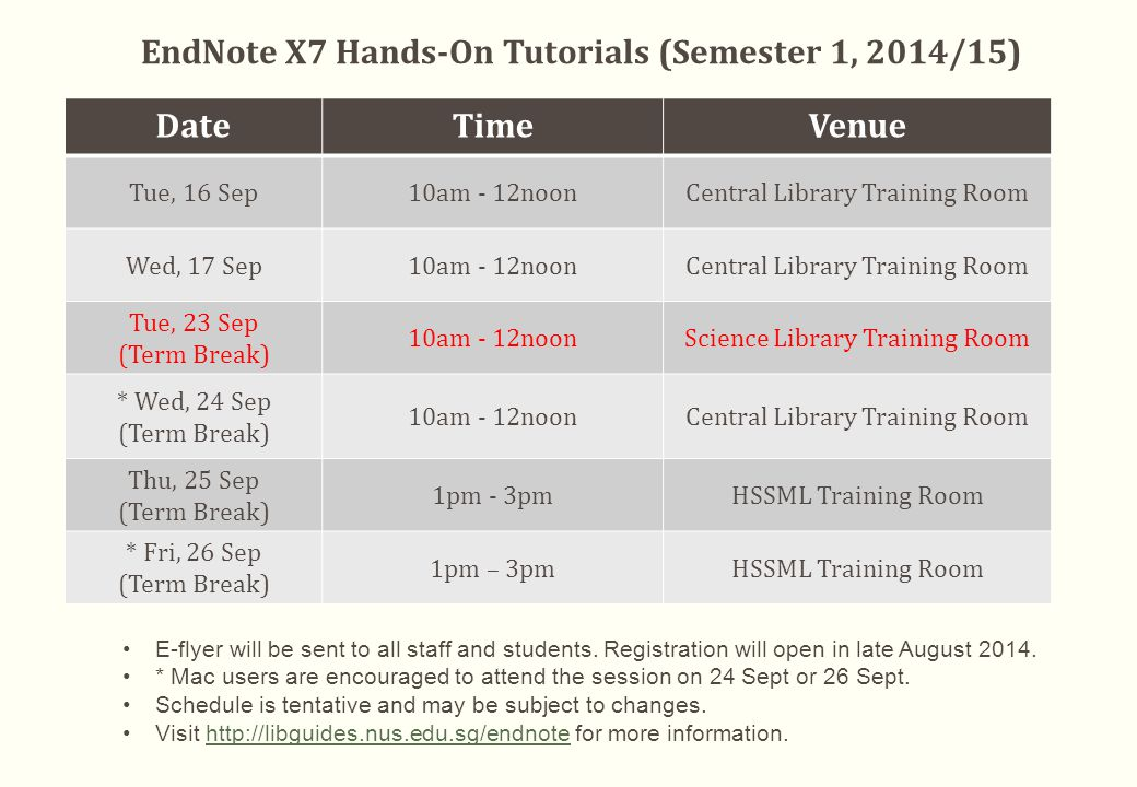 EndNote X7 Hands-On Tutorials (Semester 1, 2014/15) DateTimeVenue Tue, 16 Sep10am - 12noonCentral Library Training Room Wed, 17 Sep10am - 12noonCentral Library Training Room Tue, 23 Sep (Term Break) 10am - 12noonScience Library Training Room * Wed, 24 Sep (Term Break) 10am - 12noonCentral Library Training Room Thu, 25 Sep (Term Break) 1pm - 3pmHSSML Training Room * Fri, 26 Sep (Term Break) 1pm – 3pmHSSML Training Room E-flyer will be sent to all staff and students.