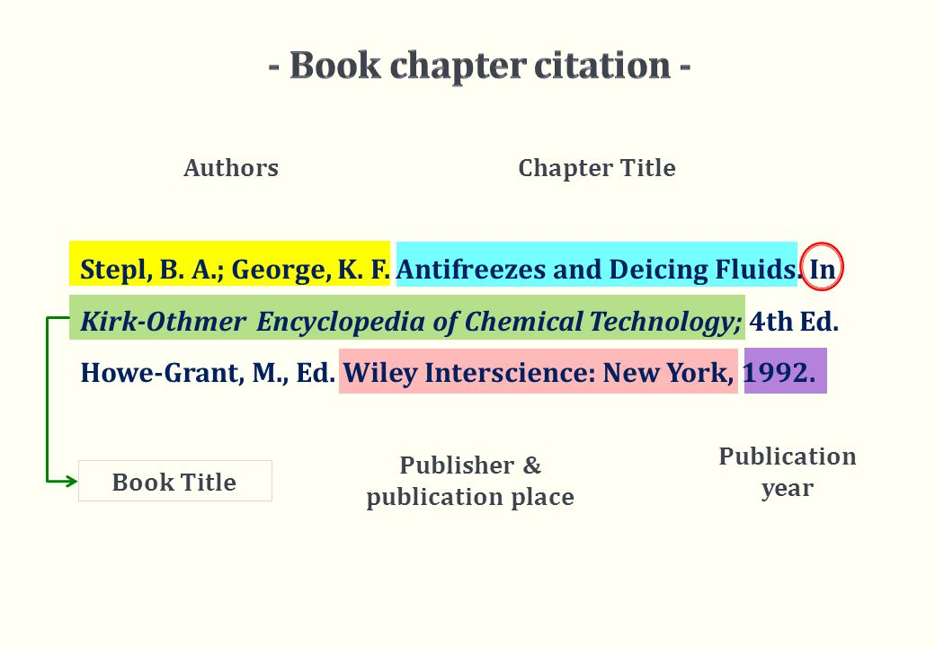Authors Chapter Title Publication year Stepl, B. A.; George, K.