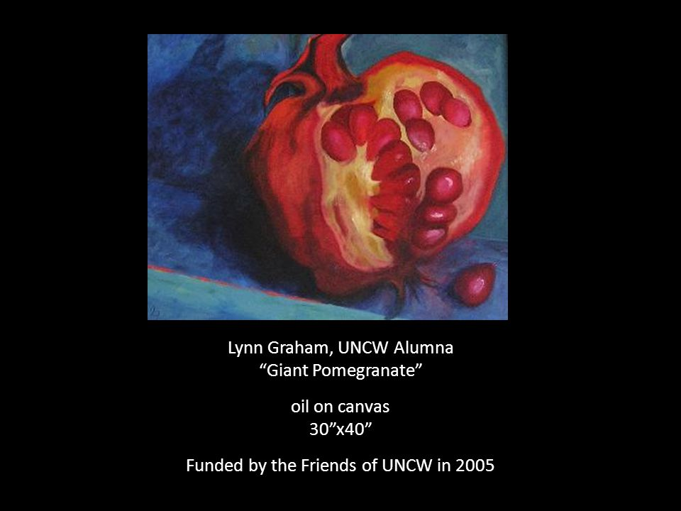 Lynn Graham, UNCW Alumna Giant Pomegranate oil on canvas 30 x40 Funded by the Friends of UNCW in 2005