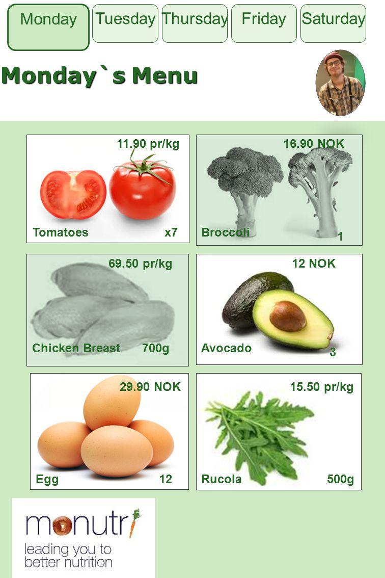 Tuesday Monday`s Menu Monday Thursday FridaySaturdayTuesday Tomatoes 11.90 pr/kg Broccoli 1 Chicken Breast700gAvocado 3 Egg12Rucola500g x7 16.90 NOK 69.50 pr/kg12 NOK 29.90 NOK15.50 pr/kg