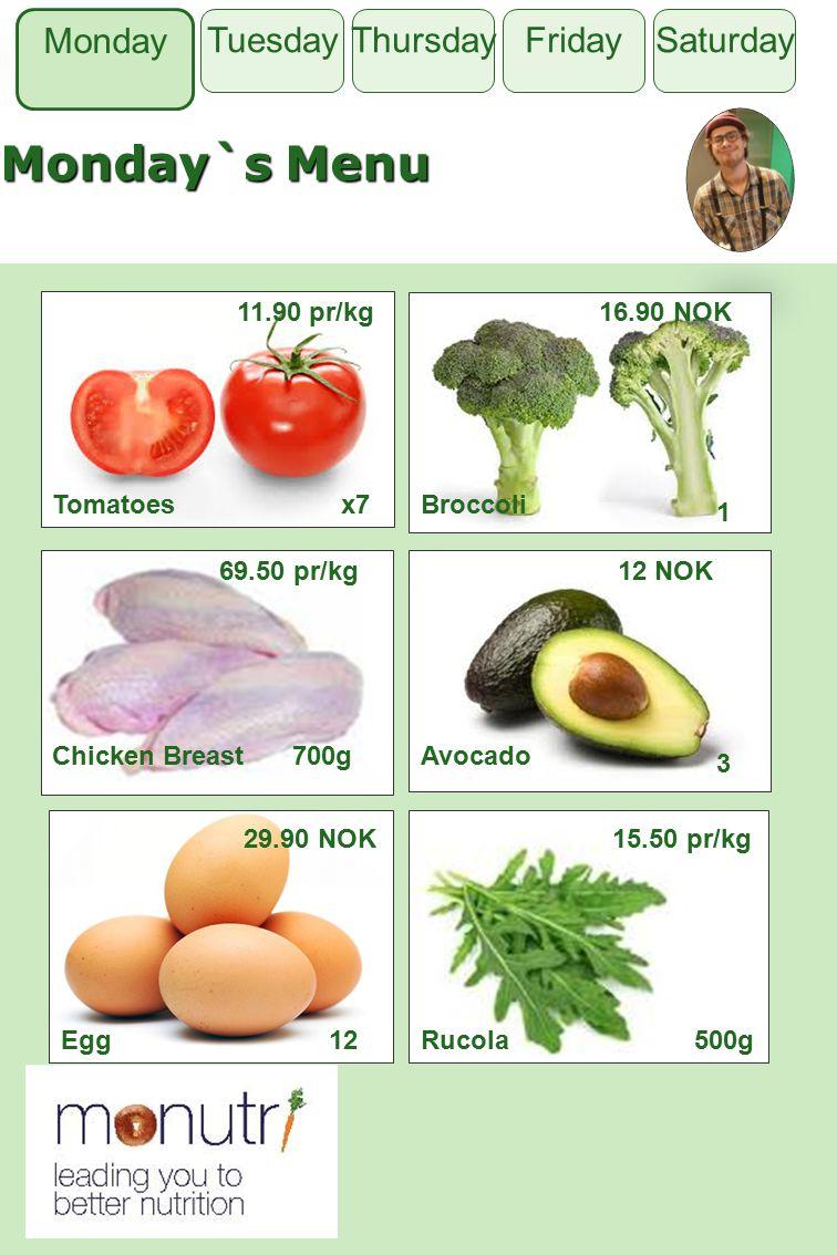 Monday`s Menu Monday Thursday FridaySaturdayTuesday Tomatoes 11.90 pr/kg Broccoli 1 Chicken Breast700gAvocado 3 Egg12Rucola500g x7 16.90 NOK 69.50 pr/kg12 NOK 29.90 NOK15.50 pr/kg