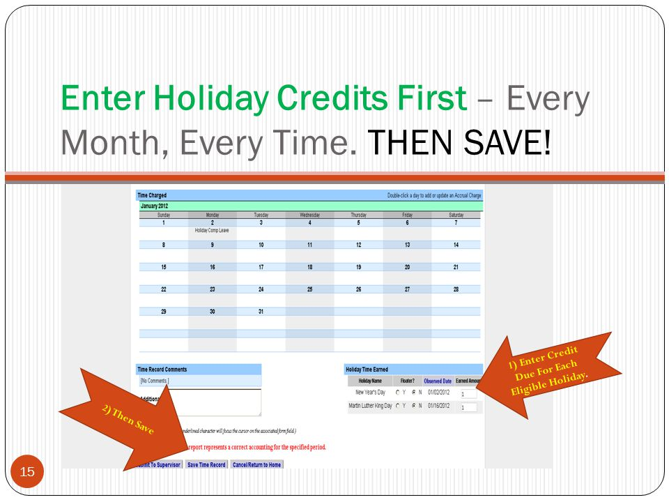 Enter Holiday Credits First – Every Month, Every Time.