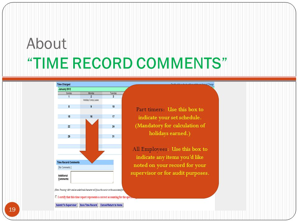 About TIME RECORD COMMENTS Part timers: Use this box to indicate your set schedule.