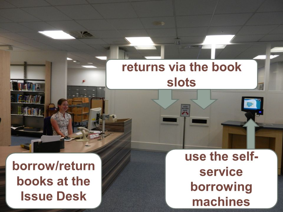 borrow/return books at the Issue Desk use the self- service borrowing machines returns via the book slots