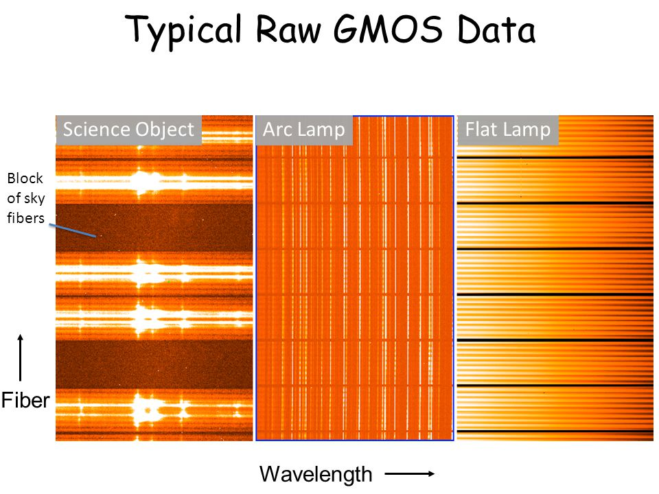 Typical Raw GMOS Data Science ObjectArc LampFlat Lamp Wavelength Fiber Block of sky fibers
