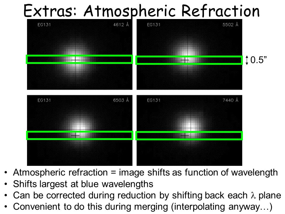 Extras: Atmospheric Refraction 0.5 Atmospheric refraction = image shifts as function of wavelength Shifts largest at blue wavelengths Can be corrected during reduction by shifting back each plane Convenient to do this during merging (interpolating anyway…)