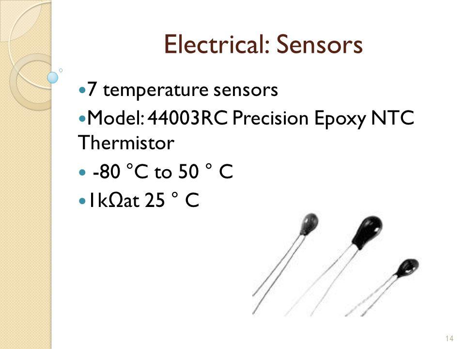 14 Electrical: Sensors 7 temperature sensors Model: 44003RC Precision Epoxy NTC Thermistor -80 °C to 50 ° C 1kΩat 25 ° C