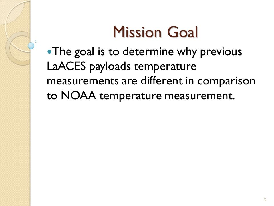 3 Mission Goal The goal is to determine why previous LaACES payloads temperature measurements are different in comparison to NOAA temperature measurement.