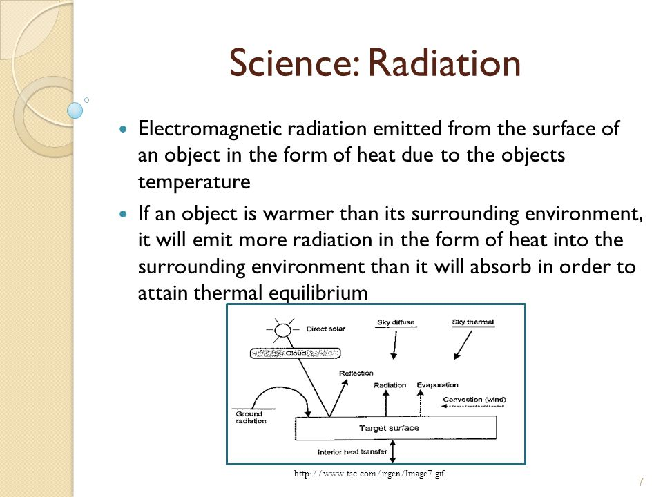 7 Science: Radiation Electromagnetic radiation emitted from the surface of an object in the form of heat due to the objects temperature If an object is warmer than its surrounding environment, it will emit more radiation in the form of heat into the surrounding environment than it will absorb in order to attain thermal equilibrium http://www.tsc.com/irgen/Image7.gif