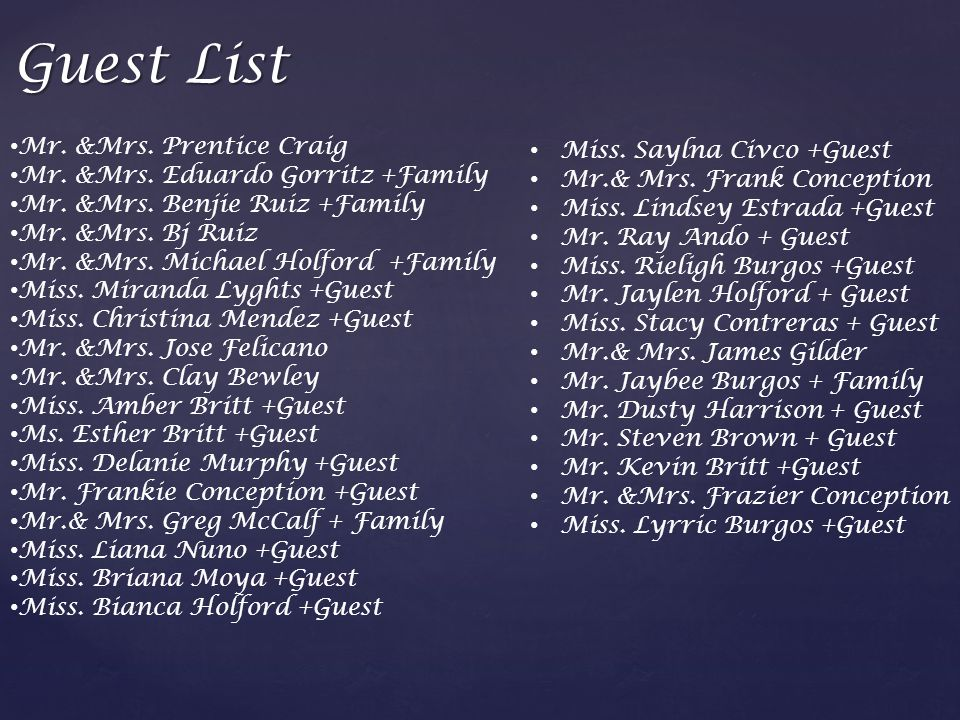 Guest List Mr. &Mrs. Prentice Craig Mr. &Mrs. Eduardo Gorritz +Family Mr.