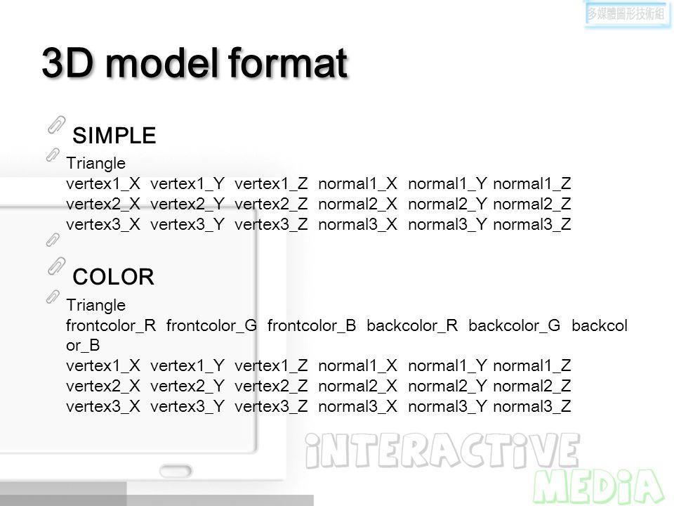 3D model format SIMPLE Triangle vertex1_X vertex1_Y vertex1_Z normal1_X normal1_Y normal1_Z vertex2_X vertex2_Y vertex2_Z normal2_X normal2_Y normal2_