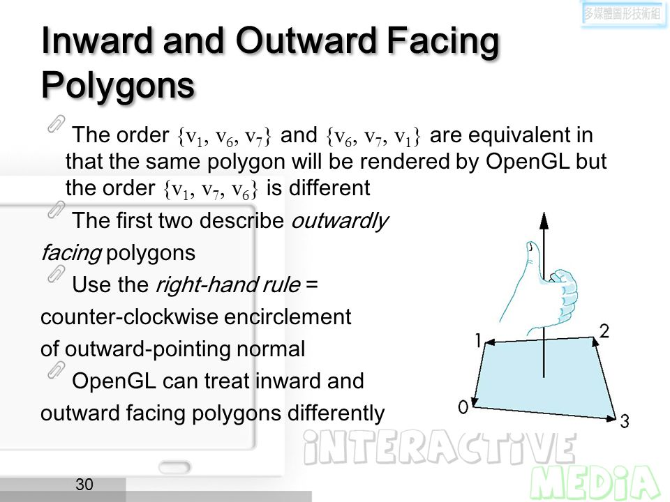 Inward and Outward Facing Polygons The order {v 1, v 6, v 7 } and {v 6, v 7, v 1 } are equivalent in that the same polygon will be rendered by OpenGL