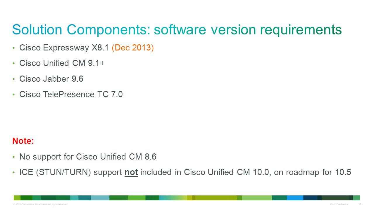 © 2013 Cisco and/or its affiliates. All rights reserved. Cisco Confidential 16 Cisco Expressway X8.1 (Dec 2013) Cisco Unified CM 9.1+ Cisco Jabber 9.6