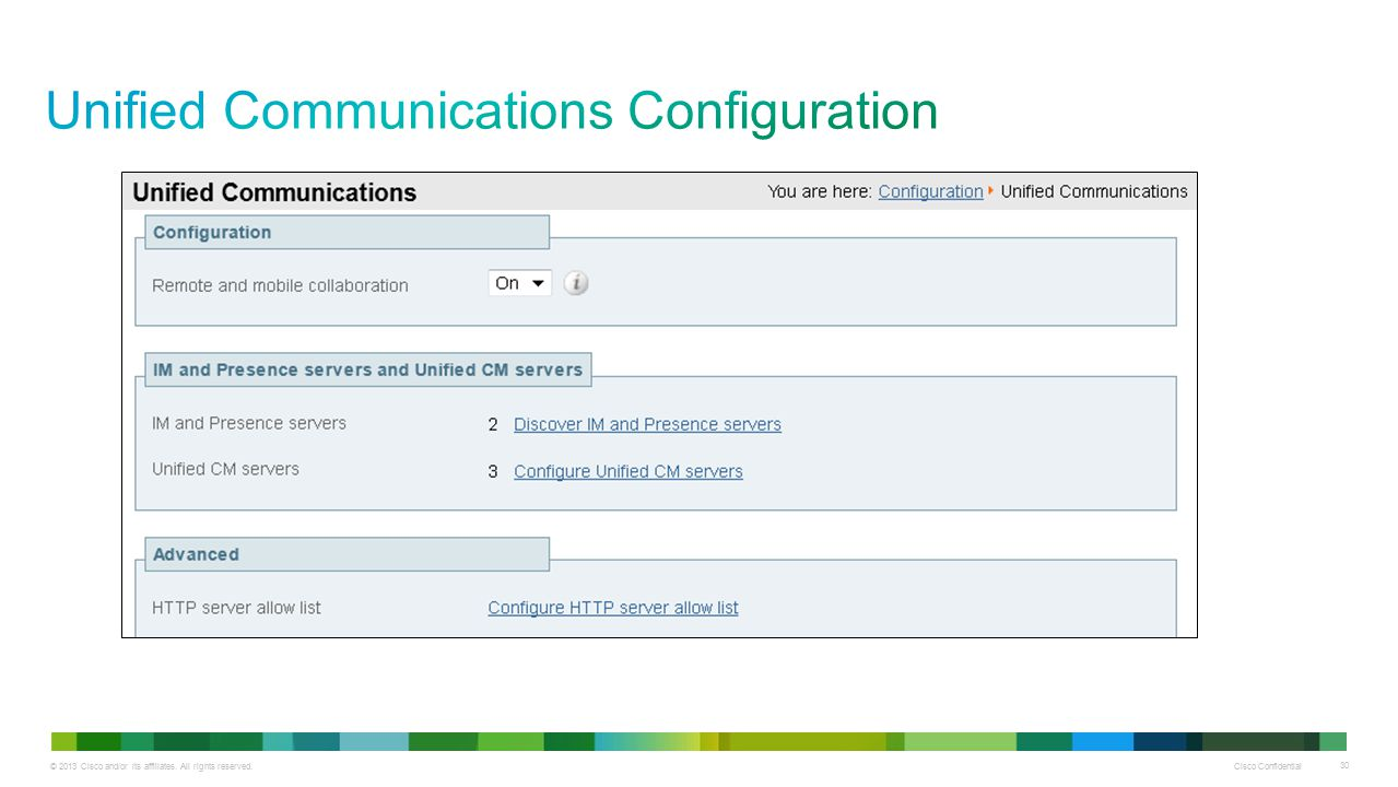 © 2013 Cisco and/or its affiliates. All rights reserved. Cisco Confidential 30