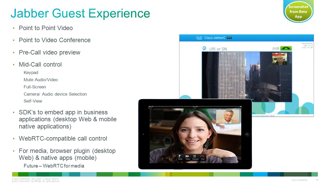 Mobile Collaboration and Jabber C Design Session © 2013 Cisco and/or its affiliates. All rights reserved. Cisco Confidential 63 Point to Point Video P