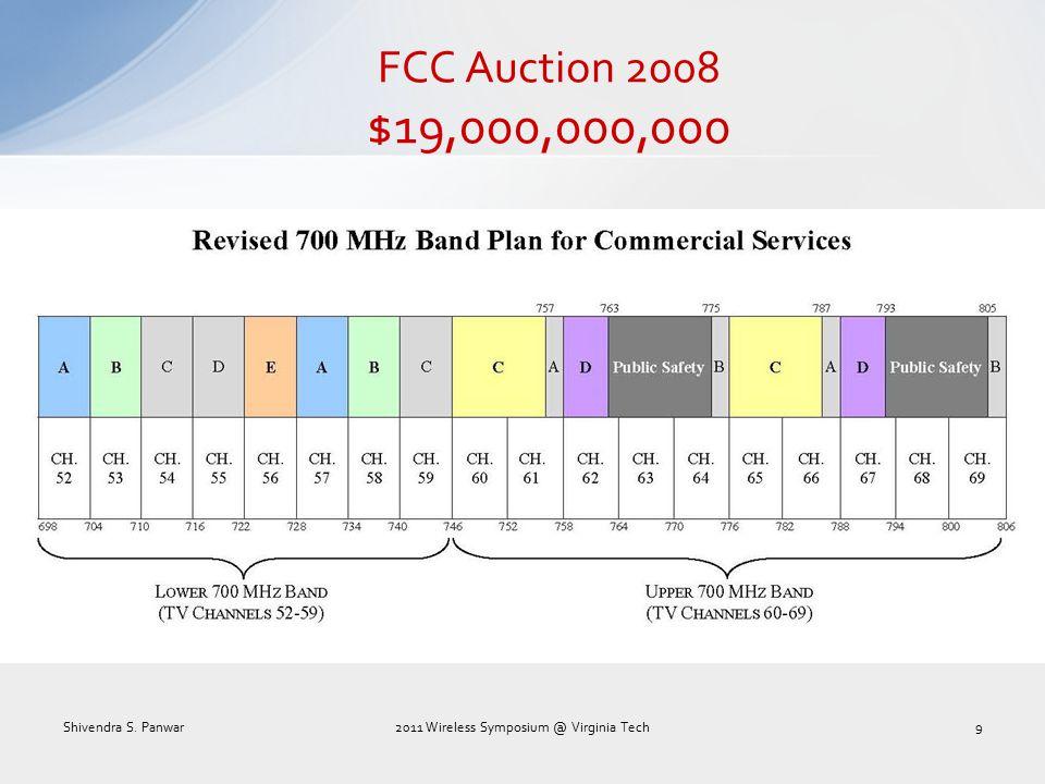 FCC Auction 2008 $19,000,000,000 Shivendra S. Panwar2011 Wireless Symposium @ Virginia Tech9