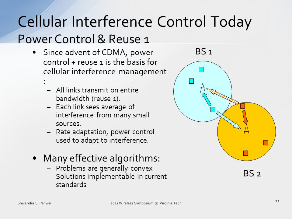 Cellular Interference Control Today Power Control & Reuse 1 Since advent of CDMA, power control + reuse 1 is the basis for cellular interference manag