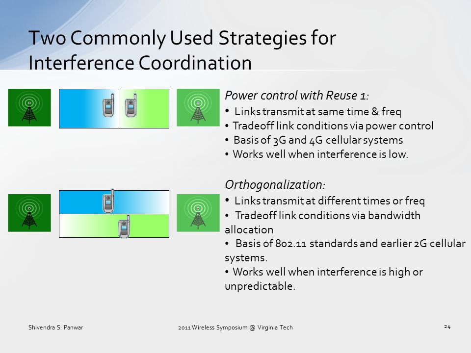 Two Commonly Used Strategies for Interference Coordination Power control with Reuse 1: Links transmit at same time & freq Tradeoff link conditions via