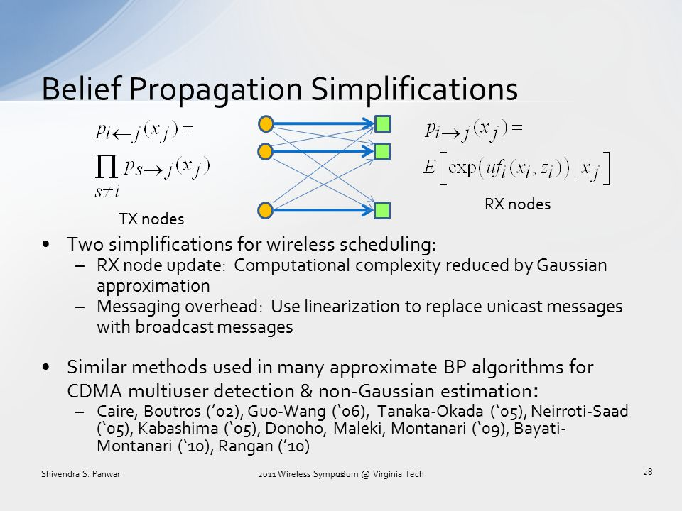 Belief Propagation Simplifications 28 Two simplifications for wireless scheduling: –RX node update: Computational complexity reduced by Gaussian appro